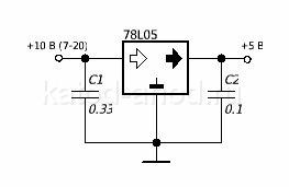 Стабилизатор 78L05, 78L05 распиновка, 78L05 цоколевка, простейший ...