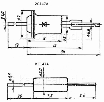 Стабилитрон КС147А, 2С147А