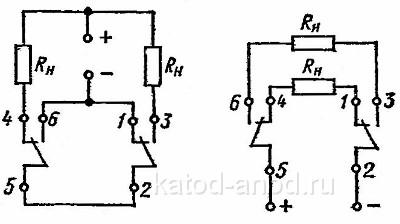 Электрическая схема нагрузки контактов реле РЭС-47